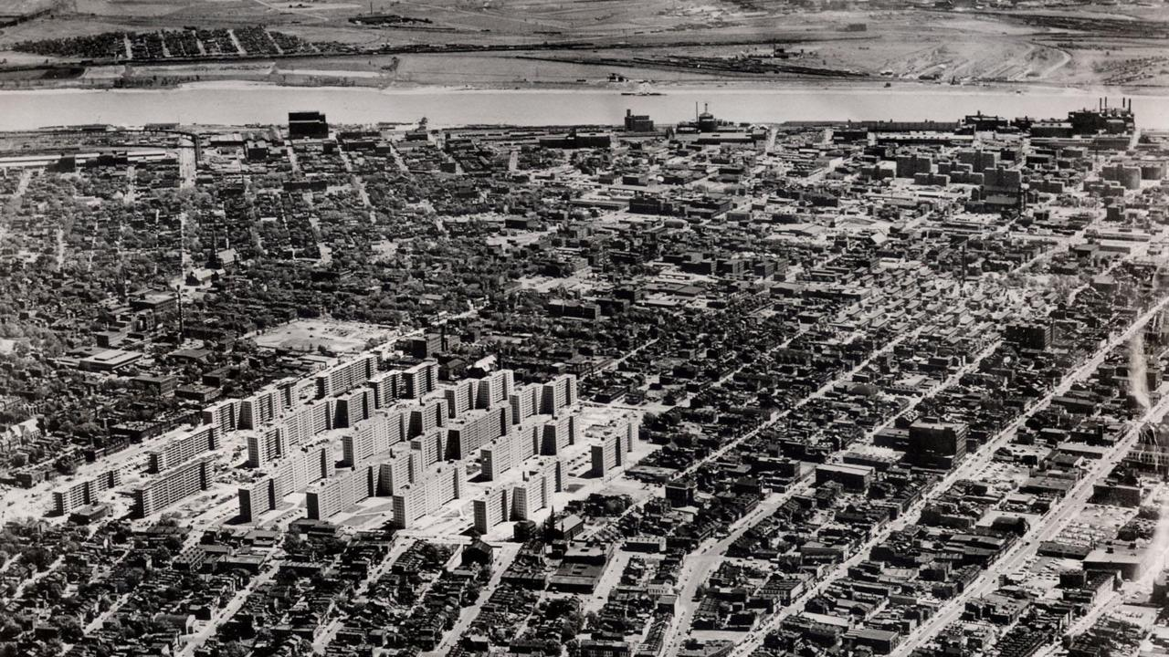 Aug 05, 1954 - St. Louis, Missouri, USA - An aerial view of the Pruitt and Igoe housing complexes under construction northwest of downtown in August 1954. The 57-acre complex of 33 buildings, each of 11 stories, provided 2,868 apartments for low-income pe