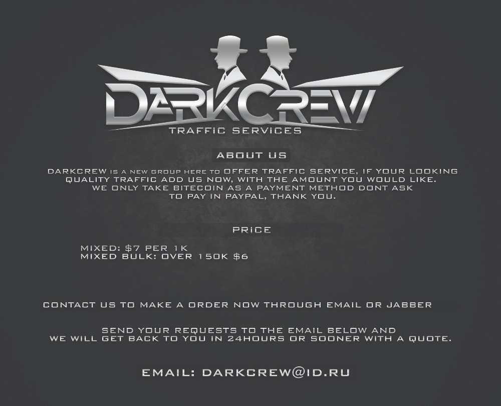 Advertisement for the DarkCrew traffic services