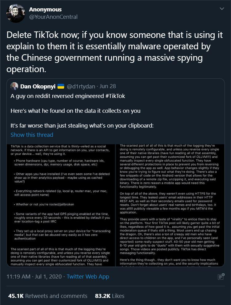 Anonymous Claiming TikTok as spyware