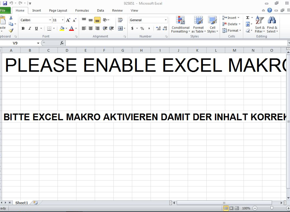 Microsoft Excel Attachment with Enable Macros Message